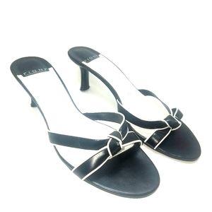 FIONI Women's  10 W black & white open toe heels